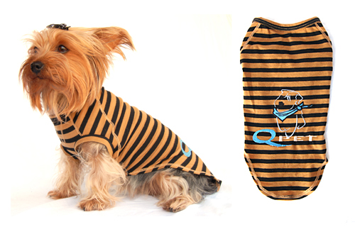 Designer dog t-shirt w/QPet logo brown & black