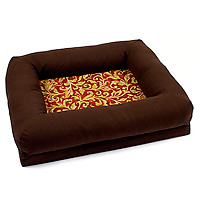 Bingo's Box brown faux-suede waverly print