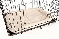 Bolster dog bed in metal crate carrier