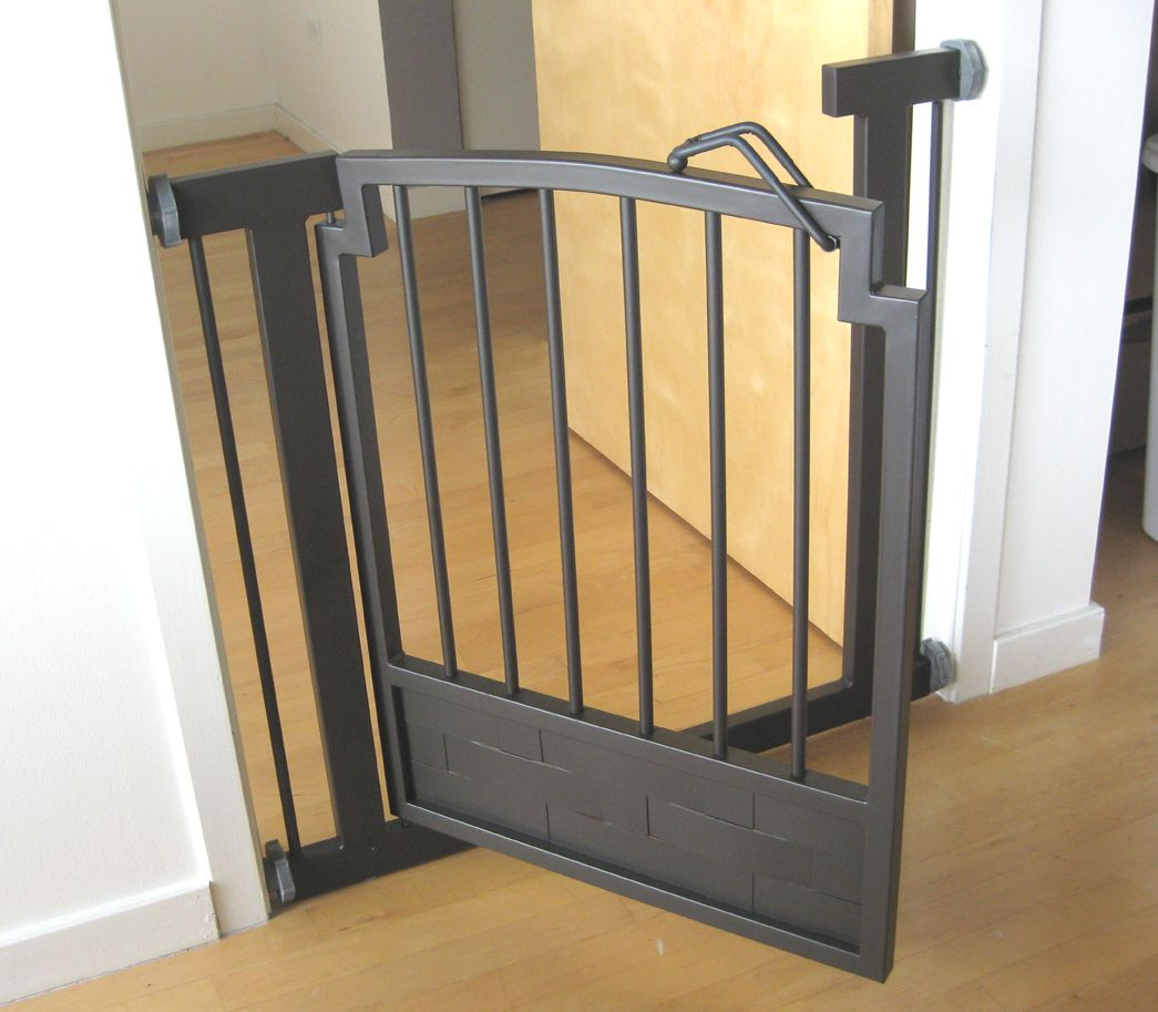 Side view mocha hallway dog gate