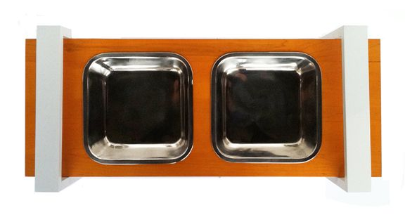 Large dog double diner stainless steel dog bowls
